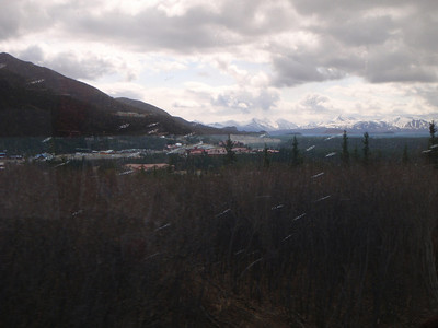 Train to Denali: approaching Denali Princess Wilderness Lodge in the rain