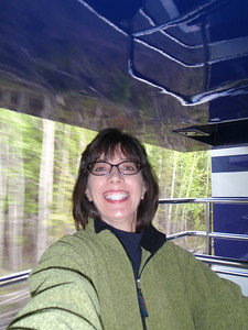 Train to Denali: Jenny on outdoor viewing platform (self portrait!)