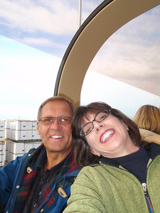 Train to Denali: Dennis and Jenny in train car (self portrait!)