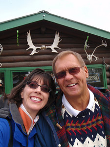 Jenny and Dennis lunching at the Talkeetna Trading Post (self portrait!)