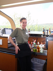 Train to Talkeetna: Ultradome train interior with bartender Jennifer