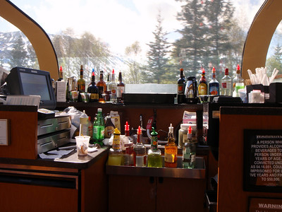 Train to Talkeetna: Ultradome train interior with bar across from our table
