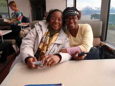 New friends: Joyce and Charisse at our table on train to Whittier (Lisa in background)