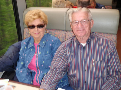 Kure Beach friends: Charlotte and Tom on train to Whittier