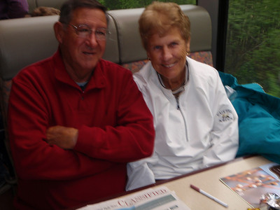 Kure Beach friends: Mo and Peg on train to Whittier
