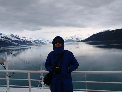 College Fjord scenic view: Jenny bundled up!