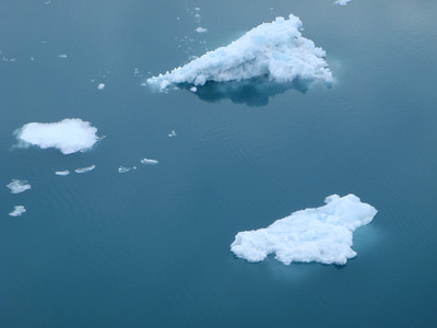 College Fjord scenic view: ice chunks extend many feet below surface
