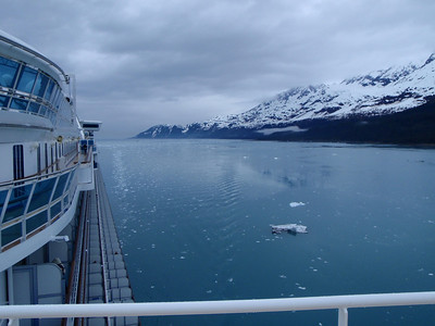 College Fjord scenic view: looking back along cruise ship