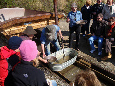 Activity: Gold Mine Tour - Klondike Pete panning for gold
