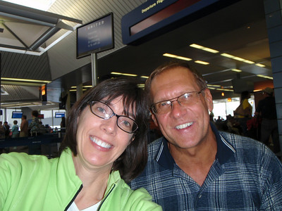 Chicago airport: Jenny and Dennis (self portrait!) with long layover due to delayed flight from Vancouver and severe storms