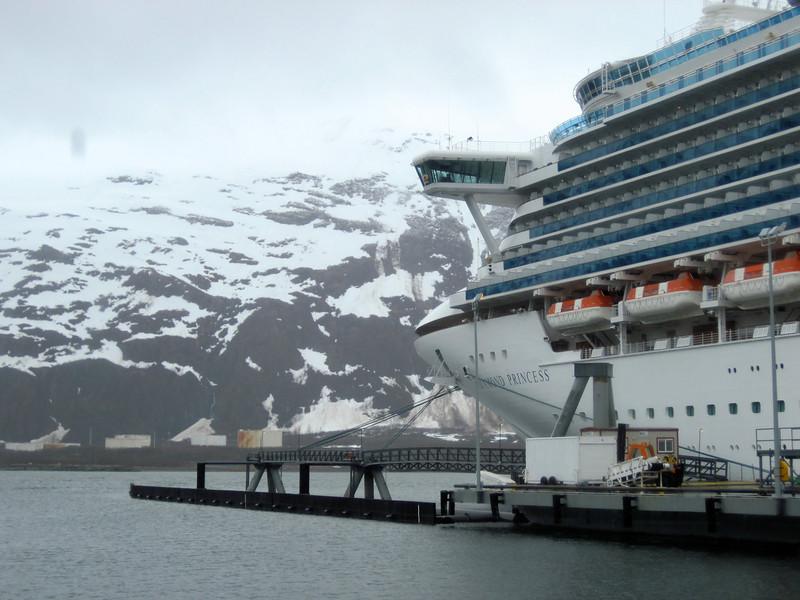 A cruise ship docked in Whittier, Alaska.