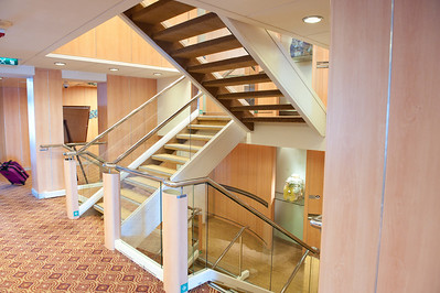 You could ride the elevators or hike the stairs between decks.