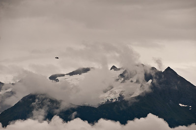 A common sight - float planes and mountains.