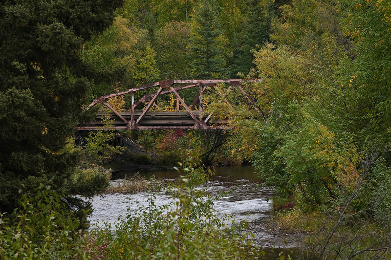 Old abandoned bridge in northern interior Alaska, mid-September.