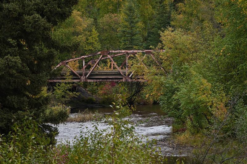 Old abandoned bridge in northern interior Alaska, mid-September.