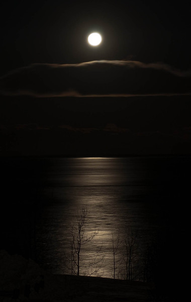 Moonset looking across Cook Inlet from Point Woronzof (near Anchorage) November 2013