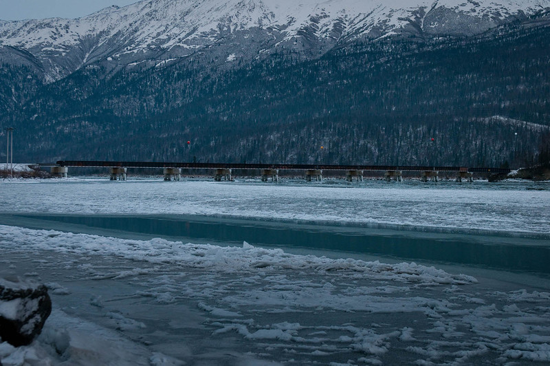Alaska Railroad bridge over the Knik River north of Anchorage - November 2013