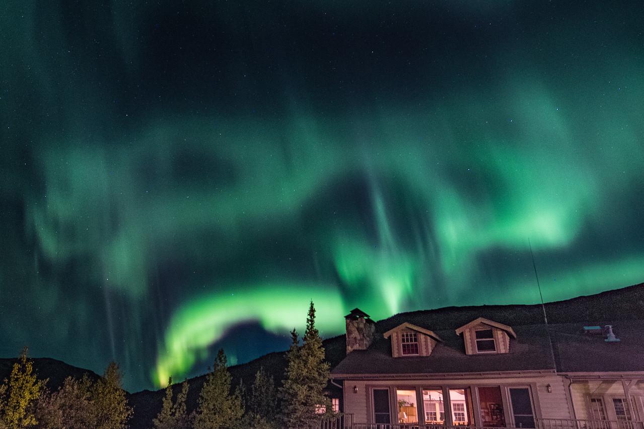 Aurora Over Lodge Bulding