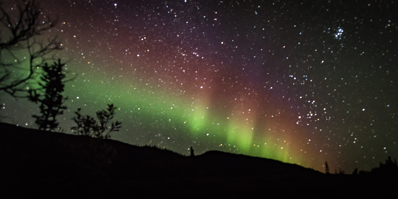 Faint Aurora from Lodge Porch on a Starry Night