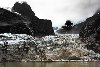 Glacier Showing Multiple Layers of Ice and Rock Debris