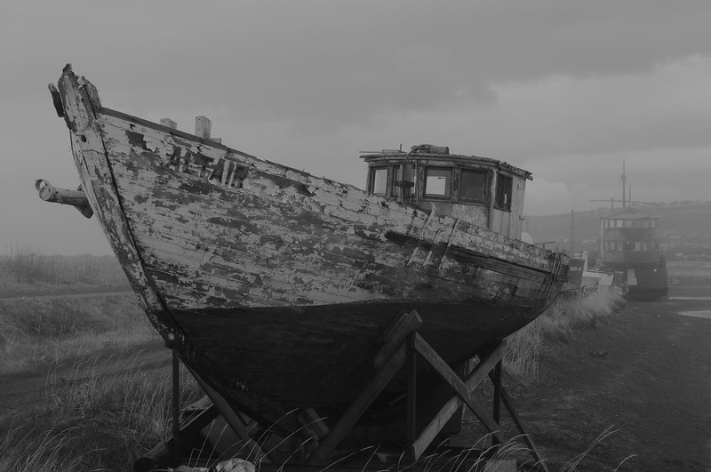 Abandoned boat on the spit, Homer, Alaska in May 2018