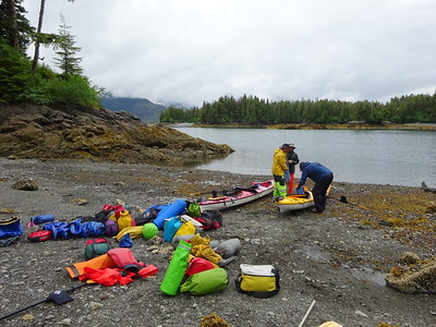 We head out on a 4-day kayak camping trip.  A boat drops us off some 30 miles from Valdez.  So just how will all this gear fit into two kayaks?