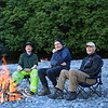 Enjoying an evening campfire with Bagel and Timo (behind the camera), although it never really got dark.  Timo was the champion fire builder and always managed to get the damp wood to burn.
