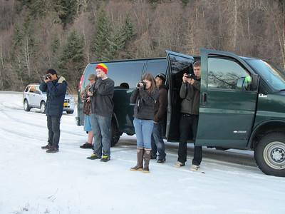 A van of kids stopped to take photo's