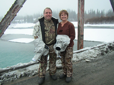 Carol and I with our Canon ran covers as it was snowing at the time.