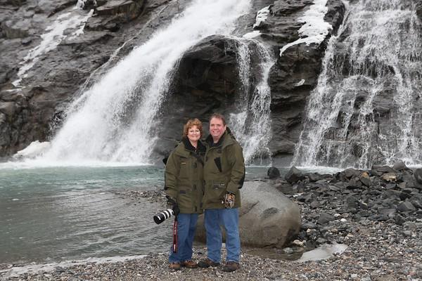 The waterfall near Mendenhall Glacier