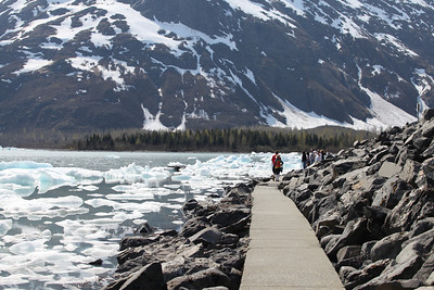 Portage Lake is filled with calved ice.