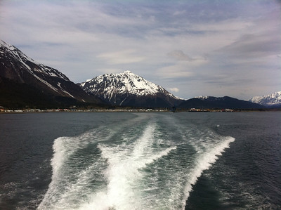 The wake from our small boat on our cruise with Major Marine Tours in Resurrection Bay, Seward, AK.