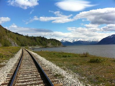 Looking down the Alaskan Railroad towards Girdwood, Alyeska and Seward.
