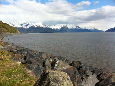 Looking out over Resurrection Bay along the Seward Highway.