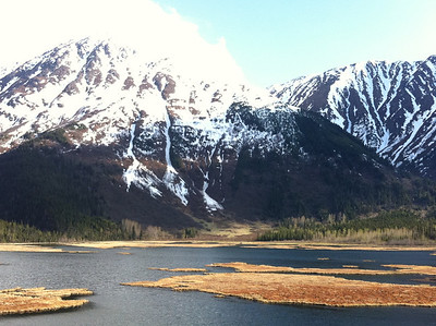 Bird Point just north of Seward featured lakes meeting snowcapped mountains.