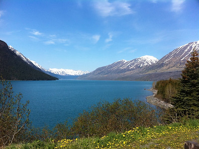 Glacial silt gives Turnagain Arm its beautiful blue color, taken along the Seward Highway.