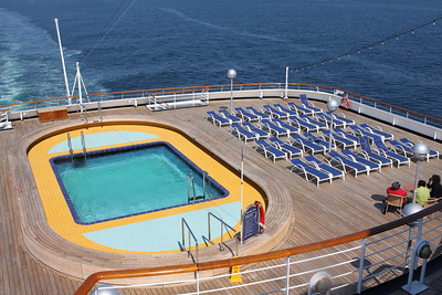 Deck 10 featured a pool at the back of the ship.