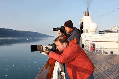 Gary and Brandon Dillard photographing the sights in College Fjord.