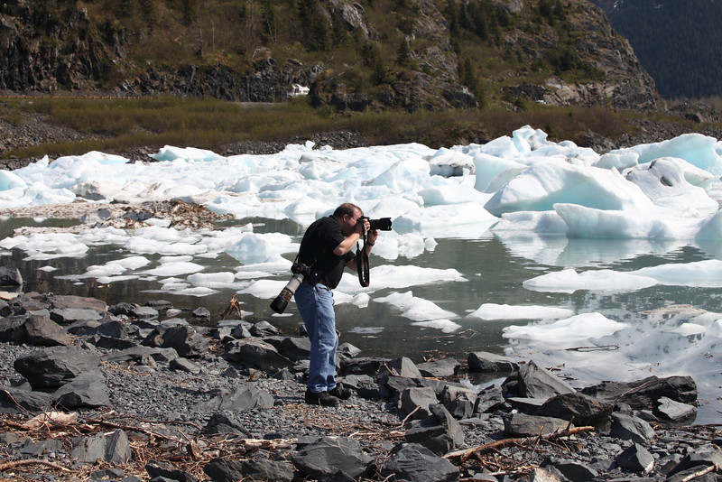 Calving ice from Portgage Glacier floats to the edge of the shore.