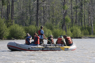 This is what our raft looks like as we drift down the Chilkoot River in Haines, AK.