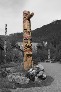 One of the totem poles in Potlatch Park, Ketchikan, AK.
