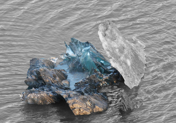 An iceberg in Glacier Bay National Park looks more like ice crystals.