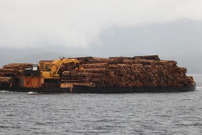 Bardge with lumber.