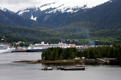 Photo from a float plane of cruise ships docked at Ketchikan Alaska.