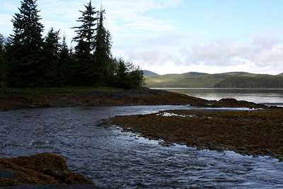 Settlers Cove - water flowing from the waterfall to the sea.