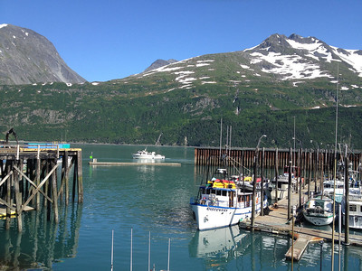 A clear day at the boat harbor in Whittier, Alaska.