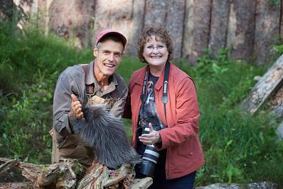 Steve Kroschel and Carol with baby porcupine.