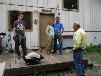 Jaden, Mary and her boyfriend Joe, along with Roger, as we grill some salmon for dinner.  Always great things to eat at Mary's.