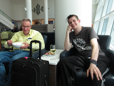 """A 3+ hour layover in Seattle afforded the opportunity for Roger to catch up on his wine consumption and Jaden to fill his """"hollow leg"""" in the Sky Club"""