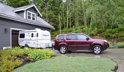 """This is our """"campsite"""" at Barbara and Sandra's home.  It rained most of the ime we visited."""